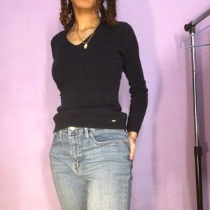 Tommy Hilfiger Womens SweaterLong Sleeve Dark Blue